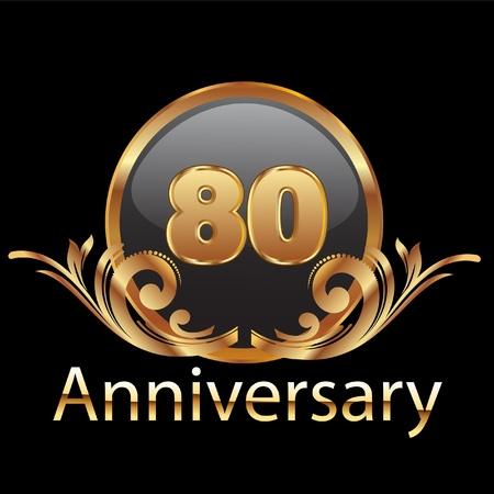 80th anniversary  gold swirl ornament Stock Vector - 12379674