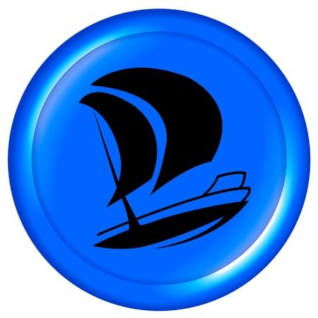 anchored: Boat blue icon design logo Illustration