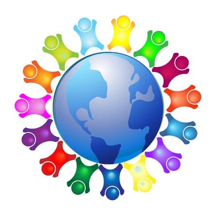 Les gens autour du logo du monde Illustration