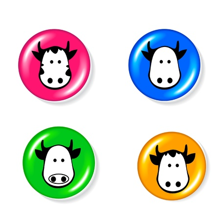 drawing pins: Cow icon set logo