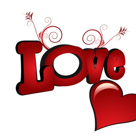 Love word with heart and florish ornaments Vector