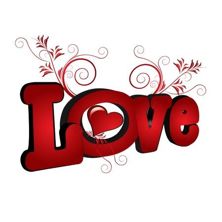 donna innamorata: Amore parola con il cuore e ornamenti fiorente Vettoriali