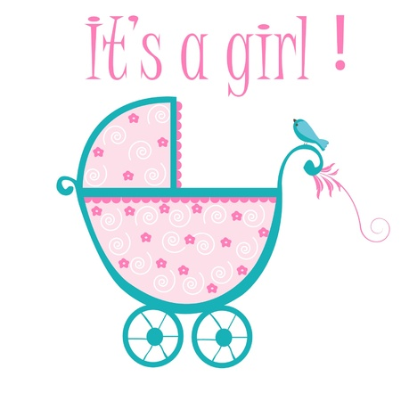 Baby crib card to welcome to new baby girl Stock Vector - 12379686