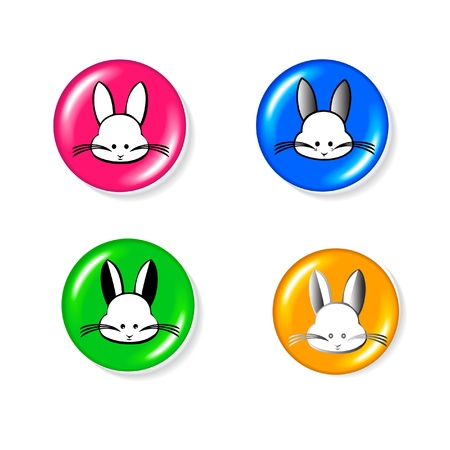 Rabbit icon set Vector