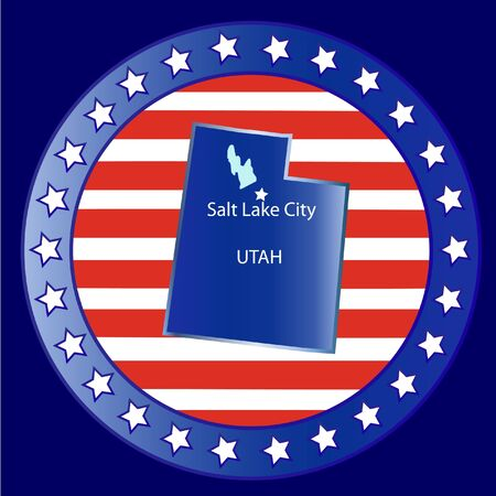 Utah state seal stamp usa  Vector