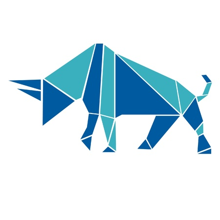 style: Bull in origami style