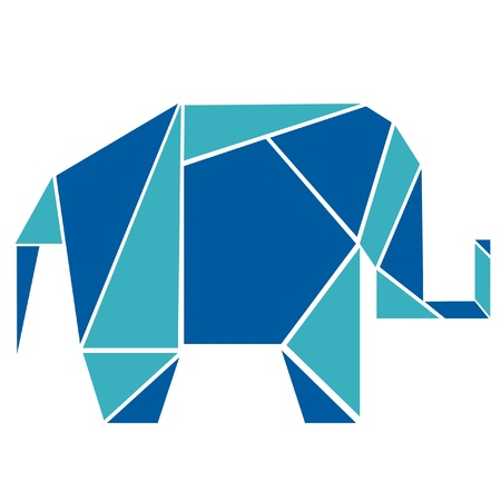Elephant in origami style 向量圖像