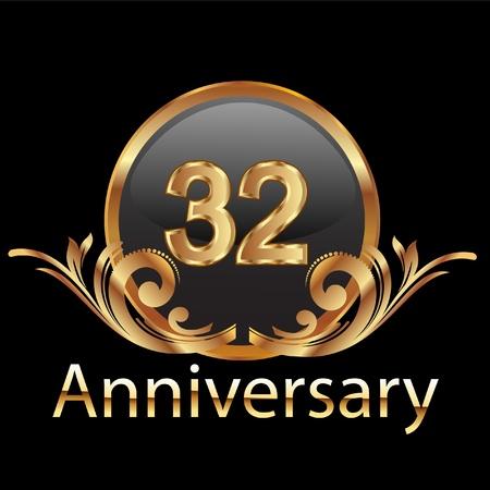 32 周年記念ハッピー誕生日  イラスト・ベクター素材