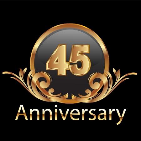 anniversario matrimonio: 45 compleanno felice ricorrenza Vettoriali