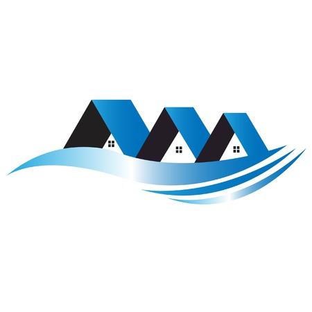 logotipo de construccion: Casas logotipo azul