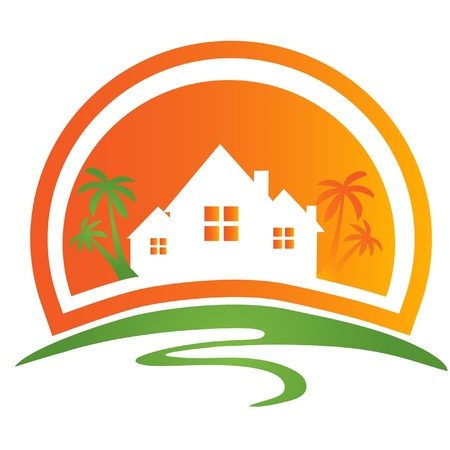 modern house exterior: House with palms logo Illustration