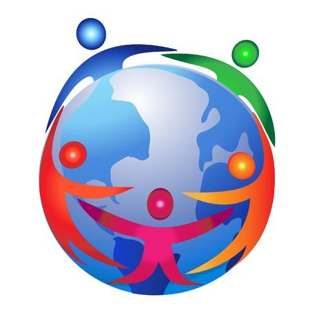 solidaridad: El trabajo en equipo el comercio de diseño de logo Vectores