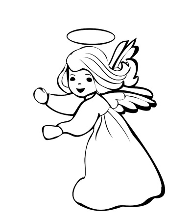 Angel dancing silhouette logo Vector