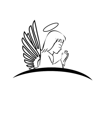 praying angel: Angel praying logo Illustration