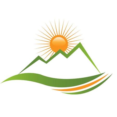 logotipo turismo: Diseño de montaña soleado Ecologycal