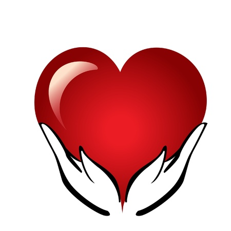 Hands holding a heart logo Vector