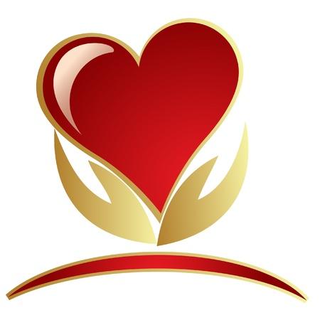cuore in mano: Mani e logo cuore Vettoriali