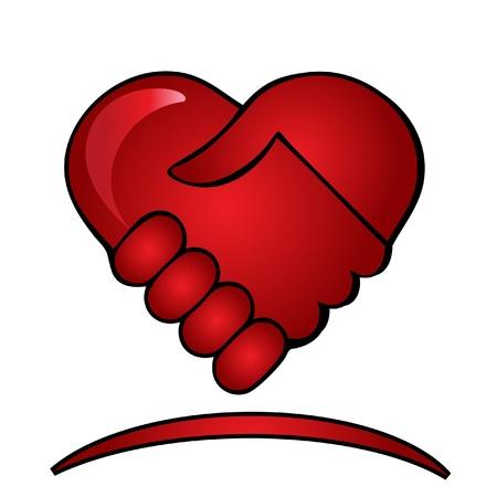 mani che si stringono: Shaking logo mani