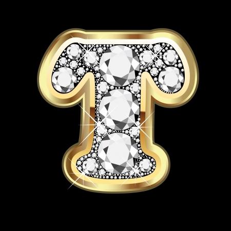 zafiro: T de oro y diamantes bling