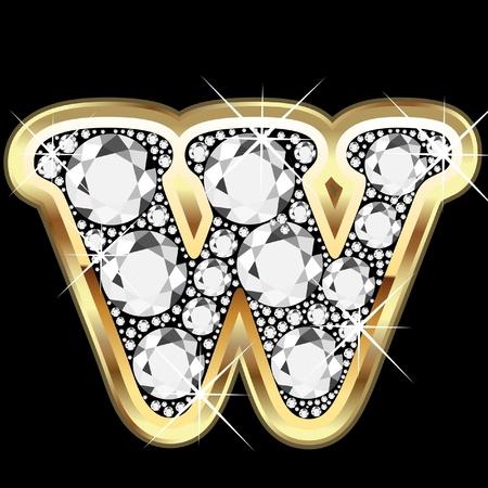 zafiro: W de oro y diamantes Bling Vectores