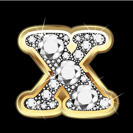 X gold and diamond bling Vector