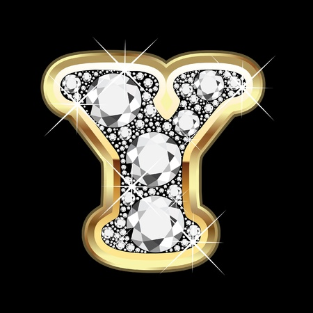 Y gold and diamond bling Vector