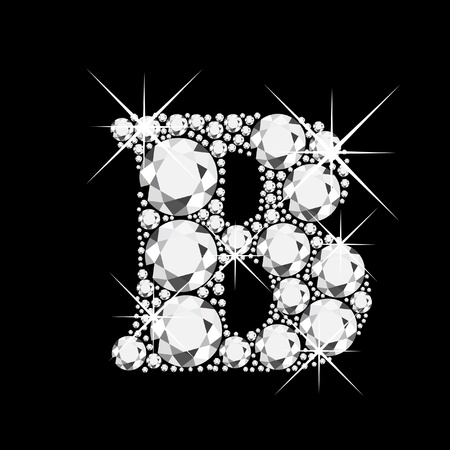 B letter with diamonds bling bling Vector