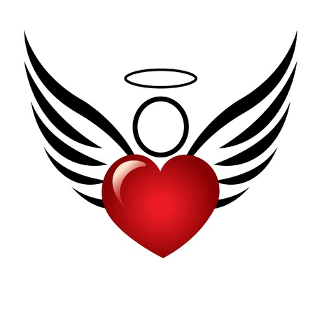 Angel and heart logo Vector