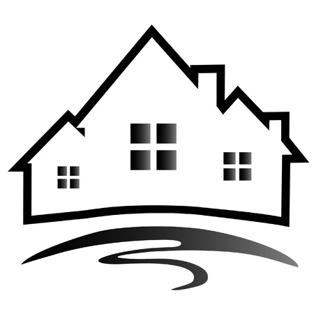 modern huis: Huizen silhouet-logo