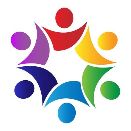 zusammenarbeit: Teamwork-L�sungen Logo Illustration