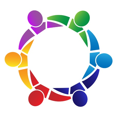 kommunikation: Teamwork människor runt i en kram logotyp