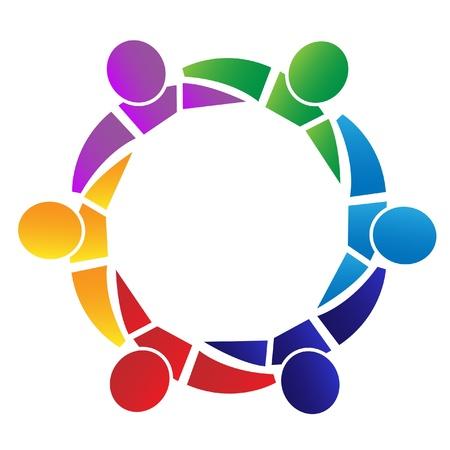 figure logo: Trabajo en equipo de personas en todo abrazo de un logotipo