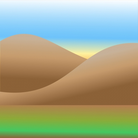 Field and mountains Vector