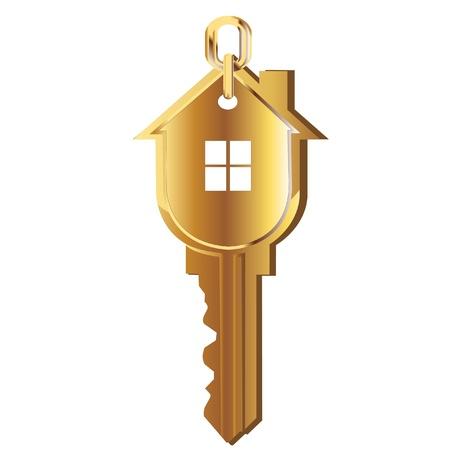 keys isolated: Casa tecla con el logotipo de oro de bienes ra�ces Vectores