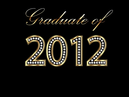 Graduate of 2012 in gold and diamonds Vector