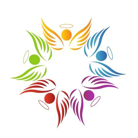 manos logo: El trabajo en equipo �ngeles logotipo