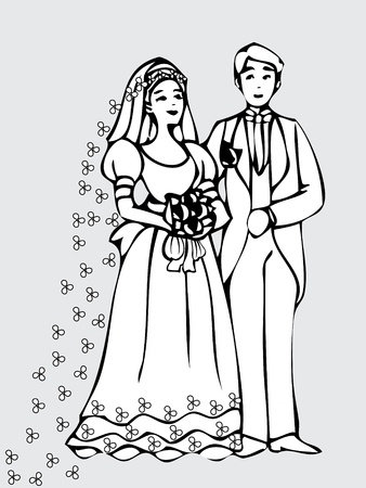 Bride and groom wedding card Illustration