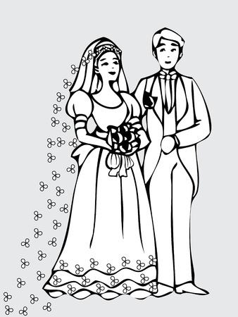 Novia y novio tarjeta de boda Foto de archivo - 12490916