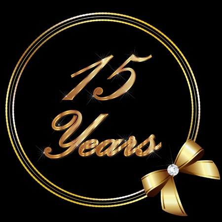 15 Years anniversary gold and ribbon Vector