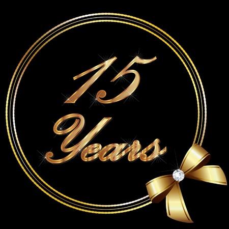 Or anniversaire de 15 ans et le ruban Banque d'images - 12805963