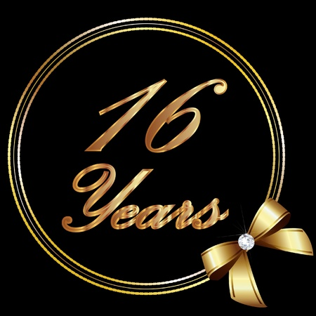 16 Years anniversary gold and ribbon Vector