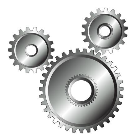 Chrome gears isolated design Stock Illustratie