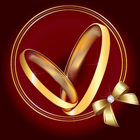 wedding card design: Wedding gold rings and ribbon  Illustration
