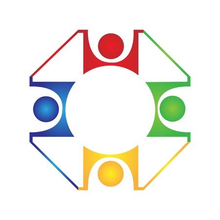 팀워크의 조화 디자인 로고 일러스트