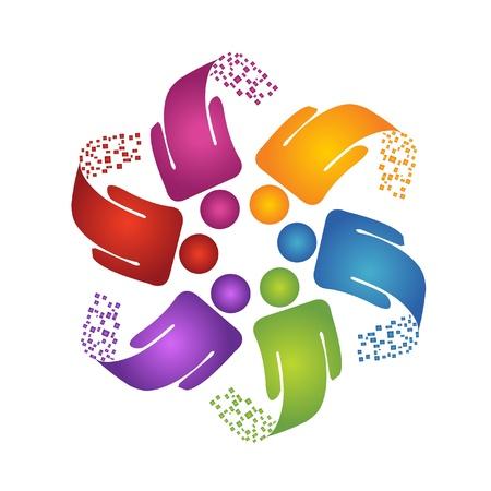 conectar: El trabajo en equipo logotipo de dise�o creativo Vectores