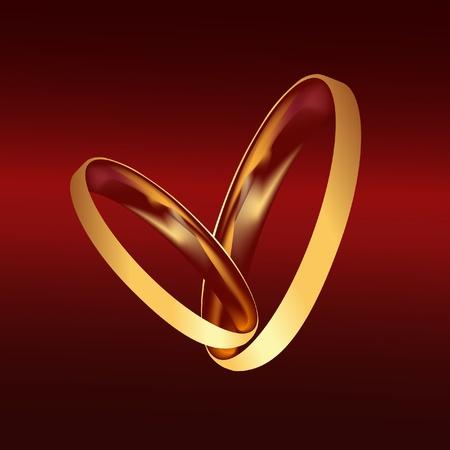 proposal of marriage: Coppia anelli di nozze d'oro vettoriale