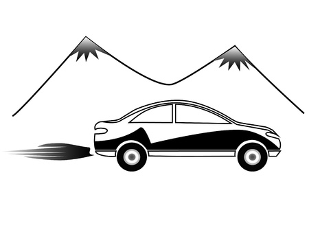 Car and mountains silhouettes Stock Vector - 12805956