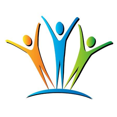 Actieve mensen verenigen logo Logo