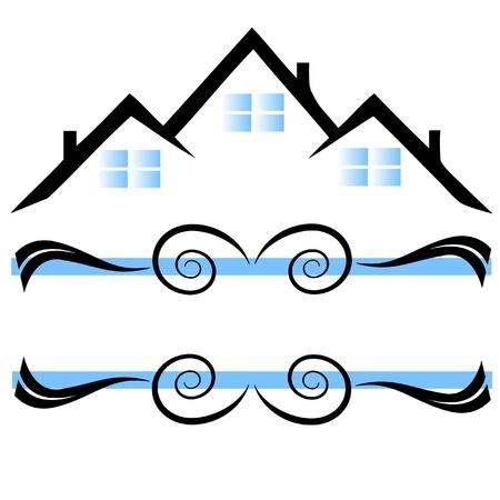 townhouses: Casas con el logotipo de adornos Vectores