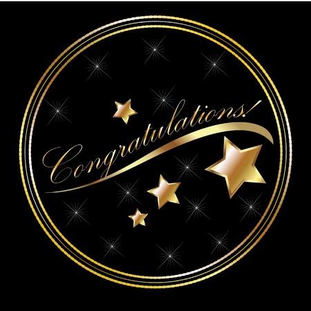 felicitaciones: Enhorabuena con letras de oro